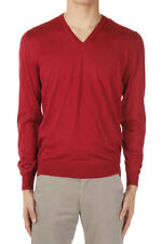 CORNELIANI Men New Red Cashmere Silk V-Neck Sweater Jumper Made in Italy