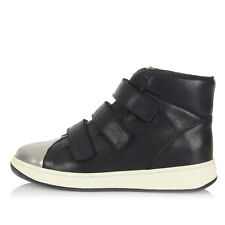 HOGAN Women Black Leather High Sneakers Shoes with Straps Made in Italy New