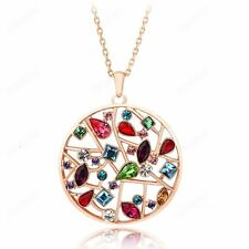 Women Colorful Austrian Crystal Pendant Fashion 18k Gold Plated Chain Necklace