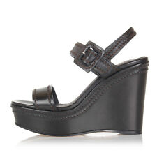 PRADA Women Black Leather Sandal with Wedge Made in Italy New Original