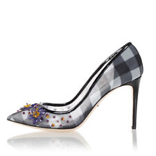 DOLCE & GABBANA Woman Black white 9 cm KATE checked heeled pumps italy made