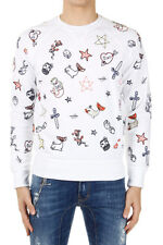 DSQUARED2 Dsquared² Men White Cotton Embroidered Sweatshirt Made in Italy New