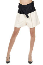 BALENCIAGA Women Two Tones Silk Mixed Bermuda Shorts with Belt Made in Italy
