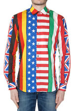 MOSCHINO COUTURE! Men Multicolor Cotton Flags Printed Shirt New with Tag