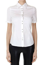 RICHMOND Women White Short Sleeved Stretch Cotton Shirt with Strass Italy Made