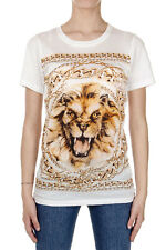 BALMAIN Women White Cotton Lion Printed T-Shirt Made in France New