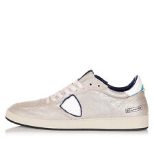 PHILIPPE MODEL Men New White Sueded Sneaker Shoes Vintage Made in Italy