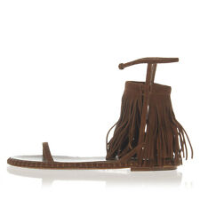 MIU MIU Women Brown Fringed Suede Sandals Shoes Made in Italy $609
