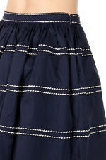 PRADA Women New Blue Cotton Stretch blend Flared Pleated Skirt Made in Italy