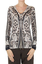 BURBERRY Women beige V neck abstract pattern Sweater wool cashmere silk