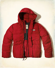 NWT Hollister by Abercrombie Mens Leucadia Puffer Jacket Fleece Lined Red L