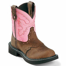 JUSTIN KIDS/YOUTH COWBOY~COWGIRL GYPSY BOOTS! BAY APACHE/PINK~9901C/9901Y