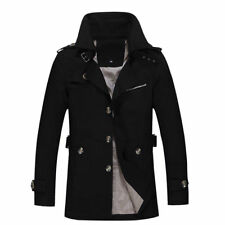 Mens Winter Casual Parka Trench Coat Detachable Peacoat Warm Lined Hooded Jacket