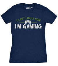 Womens Cant Adult Today Im Gaming Funny Nerd Video Gamer T shirt (Navy)