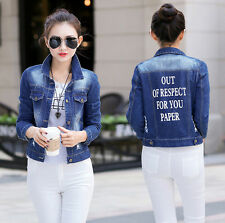 New Fashion Women Ladies Jeans Denim Jacket Long Sleeve Short Coat Outerwear