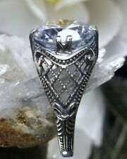 3ct White Gem Sterling Silver Bow Art Deco 1930's Filigree Ring Size Any/MTO