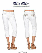 Sz 25 26 New Miss Me White Crop Capri Boyfriend Jeans Crystal Jewel  JB5970P2