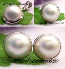 X0139 HUGE Genuine 15mm South sea white Mabe Pearl Standard silver ring earring