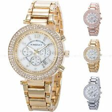 Lady Women Fashion Date Indicator Quartz Bracelet Wrist Luxury Crystal Watch