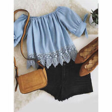 Fashion Summer Womens Ladies Lace Off-shoulder Casual Blouses Crop Tops T-Shirt