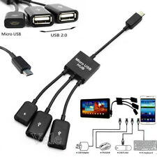 3in1 Male to Female Micro USB 2.0 Power Charging Host OTG Hub Cable Adapter New