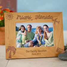 Personalized Vacation Picture Frame Spring Break Engraved Wood Photo Frame