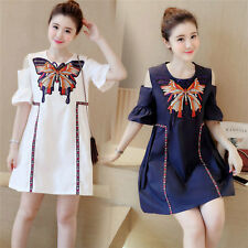 Summer Women's Off Shoulder O-Neck Embroidery Loose Sweet Casual Mini Dress
