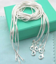 "Free Shipping 925 sterling silver 5pcs*2mm snake chains 16""-24"" Necklace C010"