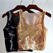 Summer Women Girl Glitter Sequin Cami Tank Top Beach Vest  Top Blouse T-Shirt