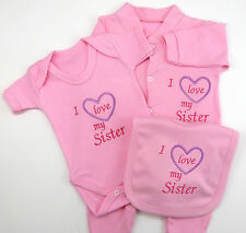 I Love My Sister or Sisters Baby Set Grow Vest Bib Blue Pink White Boy Girl Gift