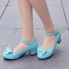 Lolita Girl Women Bowknot Chunky Block Heels Mary Jane Ankle Strap Lace Pumps