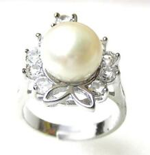 10mm AAA White Freshwater Cultured Pearl Cubic Zircon Ring - Various sizes -rg45