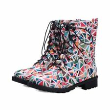 Floral Motorcycle Womens Military Lace Up Ankle Boot Flat Roma Shoes All US Sz