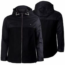 Mens Hooded Duffle Jacket Black Zip Up Pockets Long Sleeve Coat Top By Gabicci