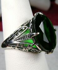 10ct Oval *Green Emerald* Sterling Silver Filigree Art Deco Ring Size: Any/MTO