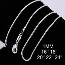 Fashion 1PCS 925 Sterling Solid Silver 1mm Snake Chain Necklace Jewely 16-24inch