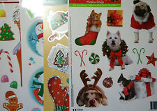 NEW  Holiday Christmas Winter Window Vinyl Clings  4 Designs dogs gingerbread +