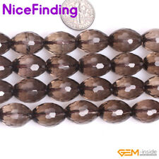 """Natural Faceted Smoky Quartz Beads For Jewelry Making Gemstone Olivary Beads 15"""""""