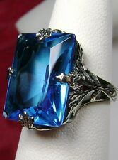 10ct *Swiss  Topaz* Sterling Silver Art Deco 1930s Filigree Ring Size: Any/MTO
