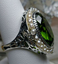 *Peridot* & Seed Pearl Sterling Silver Victorian Filigree Ring Size: Any/MTO