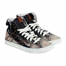 Diesel D-String Mens Black Leather High Top Lace Up Sneakers Shoes