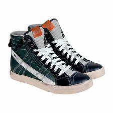 Diesel D-String Mens Blue Leather High Top Lace Up Sneakers Shoes