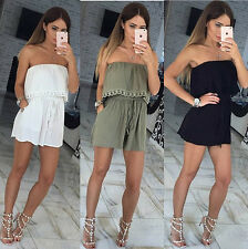 Sexy Women Fashion Strapless Jumpsuit Summer Party Club Romper Short Trousers