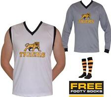 NEW Long Sleeve or Sleeveless Tigers Football Jumper + FREE Richmond Footy Socks