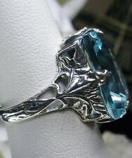 10ct *Blue Aquamarine* Sterling Silver Art Deco 1930s Filigree Ring Size Any/MTO