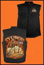 Sturgis Motorcycle Rally 2016 Skeleton  Indian Storm  Sleeveless Denim Shirt