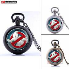 Ghostbusters Pattern Vintage Antique Pocket Watch Quartz Pendant Necklace Chain
