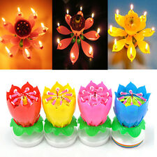 New Romantic Musical Lotus Flower Happy Birthday Party Candle Lights Gift Nice!