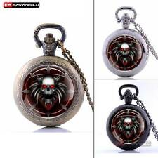 Antique Steampunk Skull Red Eyes Pendant Locket Pocket Watch Quartz Necklace Men