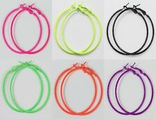 12Pcs New Women Stylish Fluorescence Color Circle Basketball Wives Hoop Earrings